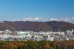 Città di Osaka del centro in montagna Immagini Stock Libere da Diritti