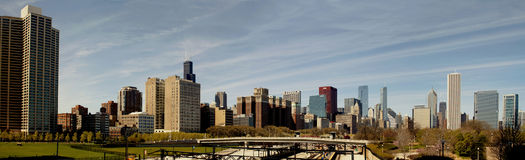 Città di panorama del Chicago Immagini Stock