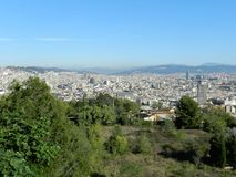 Città di panoramica di Barcellona fotografie stock