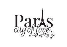 Città di Parigi di amore, esprimente progettazione, decalcomanie della parete, torre Eiffel royalty illustrazione gratis
