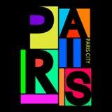 Città di Parigi, grafici di tipografia della maglietta, vettore Fotografia Stock