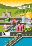 Città di Pixelville! Fotografia Stock Libera da Diritti