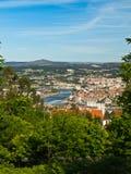 Città di Pontevedra e fiume di Lerez Fotografie Stock Libere da Diritti