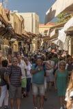 Città di Rhodes Old della via di Pithagora Fotografia Stock Libera da Diritti
