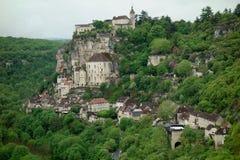 Città di Rocamadour da un punto facente un giro turistico in Francia Fotografia Stock