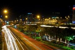 Città di Saigon alla notte Immagine Stock