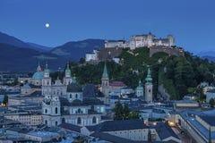 Città di Salisburgo con la fortezza di Hohensalzburg, terra di Salzburger, Austria Immagine Stock Libera da Diritti