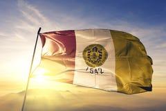 Città di San Diego del tessuto del panno del tessuto della bandiera degli Stati Uniti che ondeggia sulla nebbia superiore della f immagine stock libera da diritti