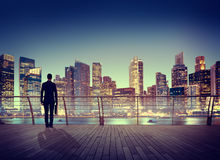 Città di scena di Corporate Cityscape Urban dell'uomo d'affari che costruisce Concep Fotografia Stock
