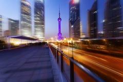 Città di Schang-Hai Notti Pudong Fotografia Stock