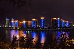 Città di scienza e tecnologia della Cina - città di MianYang alla notte Immagini Stock Libere da Diritti