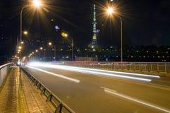 Città di scienza e tecnologia della Cina - città di MianYang alla notte Immagini Stock
