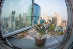 Città di Seoul in Corea del Sud, vista della finestra Immagini Stock Libere da Diritti