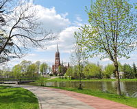 Città di Silale in primavera, Lituania fotografie stock