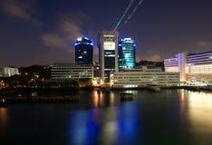 Città di Singapore alla notte Immagini Stock