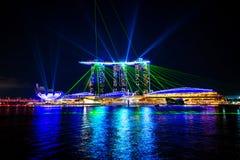 Città di Singapore alla notte Immagine Stock