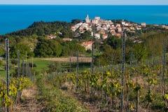 Città di Sirolo sopra il mare adriatico Fotografie Stock