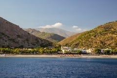 Città di Sougia su Creta del sud Immagini Stock Libere da Diritti