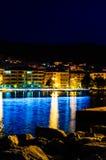 Città di spiaggia con le luci sconosciute Fotografia Stock