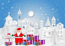 Città di stagione invernale per il Natale con il fiocco di neve e Santa, illustrazione di vettore, progettazione di carta di arte Immagine Stock