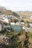 Città di Sunny Lourdes in Francia Fotografia Stock