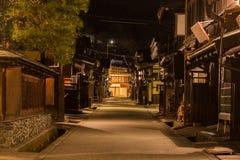 Città di Takayama nella notte Fotografia Stock