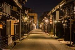 Città di Takayama nella notte Fotografia Stock Libera da Diritti