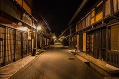 Città di Takayama nella notte Immagini Stock