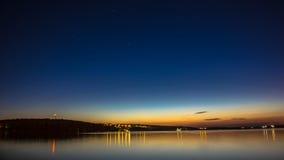 Città di Ternopil, cielo blu, notte Immagini Stock Libere da Diritti