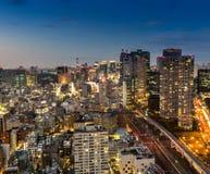 Città di Tokyo alla notte Fotografia Stock