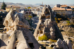Città di Uchisar in Cappadocia La Turchia Fotografie Stock Libere da Diritti