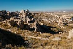Città di Uchisar in Cappadocia La Turchia Fotografia Stock