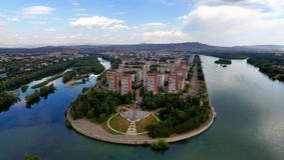 Città di Ust-Kamenogorsk sul fiume Irtish immagine stock libera da diritti