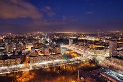 Città di Varsavia di notte in Polonia Immagine Stock Libera da Diritti