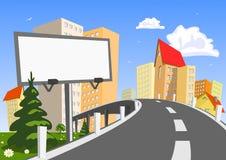 Città di vettore con il tabellone per le affissioni Fotografie Stock Libere da Diritti