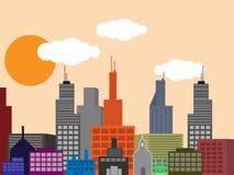 Città di vettore con le costruzioni ed il cielo di tramonto Fotografie Stock