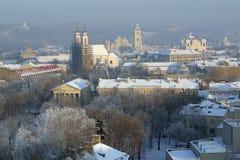 Città di Vilnius in inverno Fotografia Stock Libera da Diritti