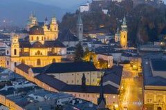 Città di vista aerea di Salisburgo, Salisburgo Austria Fotografie Stock Libere da Diritti
