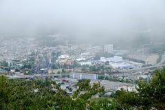 Città di vista dal parco di Kawaguchiko immagini stock libere da diritti