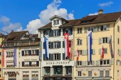 Città di Zurigo sulla festa nazionale svizzera Fotografia Stock