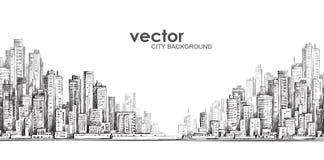 Città disegnata a mano, illustrazione Fotografia Stock