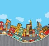 Città divertente del fumetto Immagine Stock