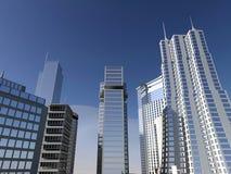 Città e cielo blu moderni Fotografia Stock