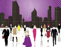 Città e gente urbane Fotografie Stock