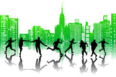 Città e la gente illustrazione vettoriale