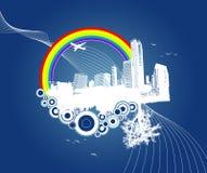 Città e natura con i cerchi. Immagini Stock Libere da Diritti