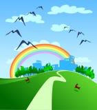 Città e Rainbow Immagini Stock Libere da Diritti