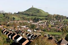 Città e tor di Glastonbury Immagini Stock Libere da Diritti
