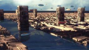 Città ed astronavi futuristiche illustrazione vettoriale