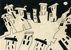 Città ed estratto ed illustrazione ed architettura Fotografie Stock Libere da Diritti